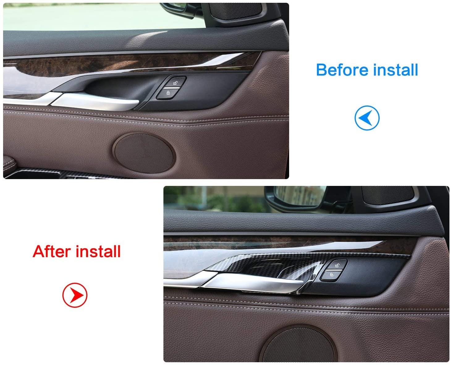 TongSheng Car Interior Door Handle Bowl Decoration Cover Trim 4pcs for BMW X5 F15 X6 F16 2014-2018 (Carbon Fiber)