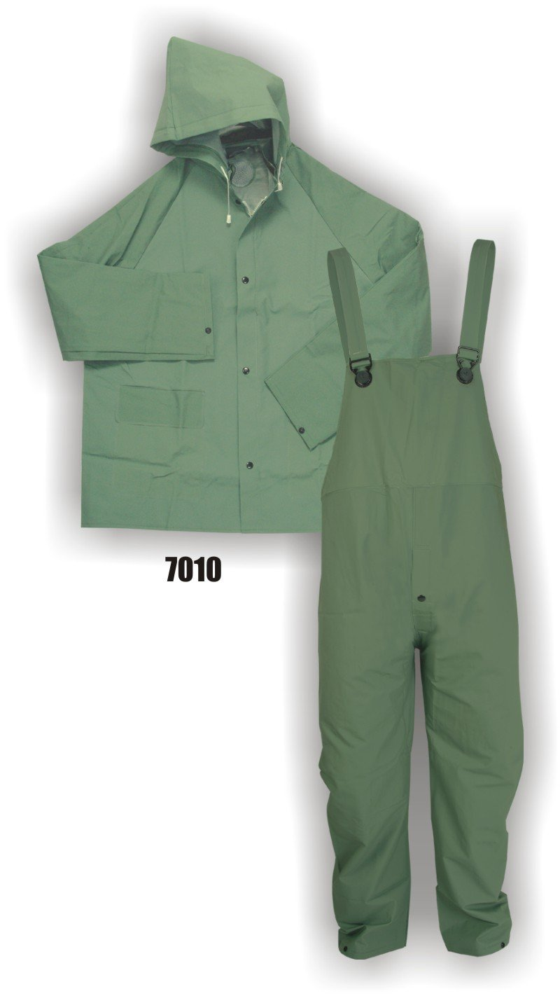 Majestic Glove 7010/M PVC/Polyester Rainsuit, 3 Piece, Medium, Green (Case of 10 Units)