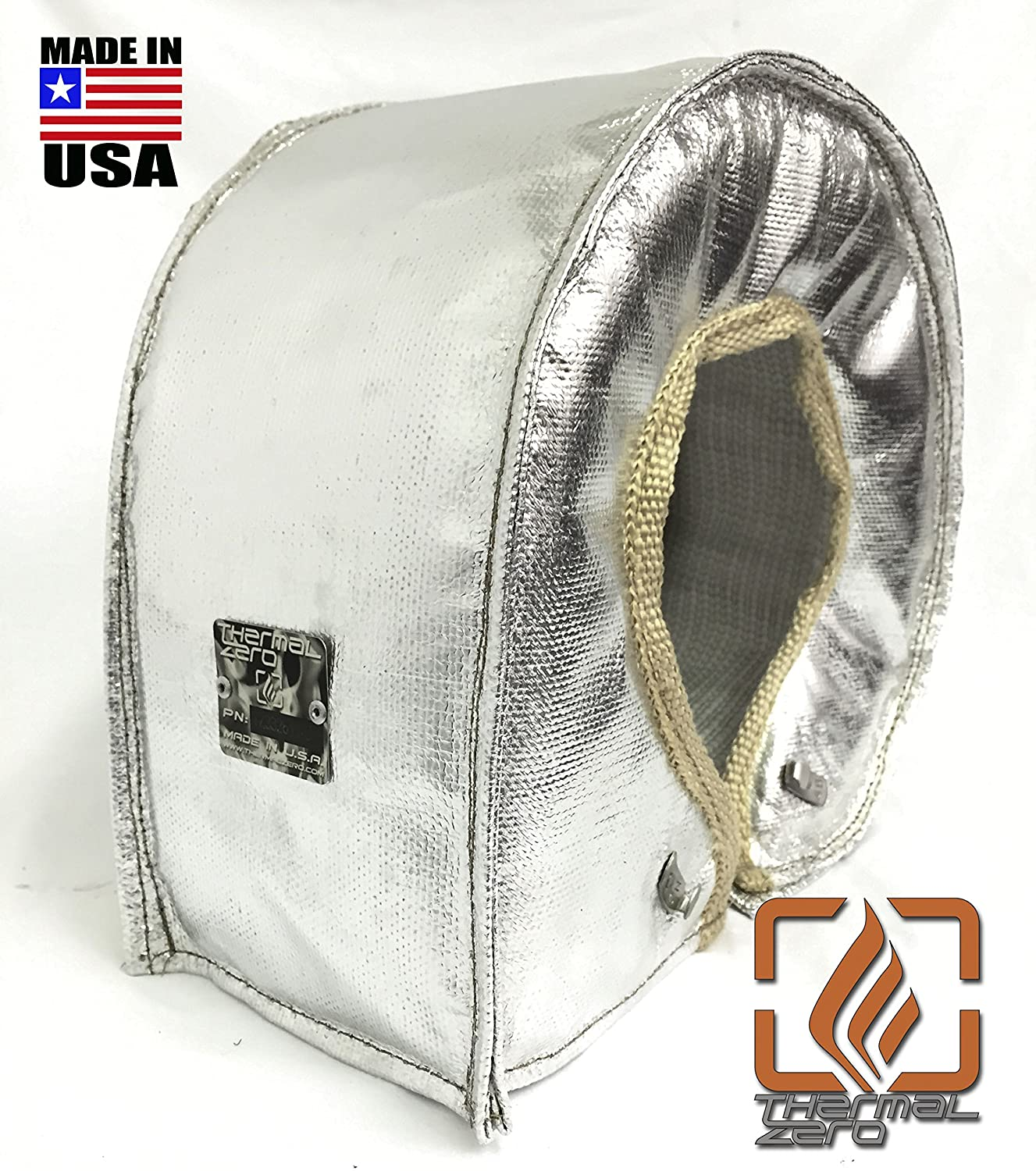 Thermal Zero CHROME/SILVER UNIVERSAL T6 Turbo Blanket Holds 2400 degrees. MADE IN USA unlike the rest. Fits most T6 turbochargers including Garrett, Precision, Turbonetics DETROIT DIESEL, CUMMINS