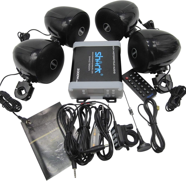 SHARK MOTORCYCLE AUDIO BLUETOOTH AUDIO 2000W 4.1CH SHKC7800NLP98DB WITH FM radio (BLACK)