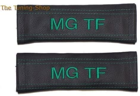 The Tuning-Shop Ltd 2X Seat Belt Covers Pads Shoulder Black Leather Green Mg Tf Edition 22Cm X 6Cm