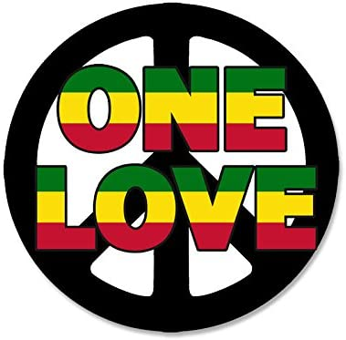 Round ONE Love Peace Sign Sticker (Rasta Rastafari Marley)