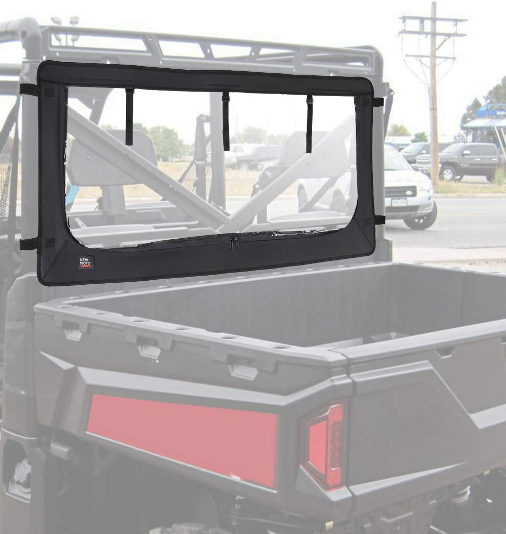 UTV Rear Windshield, Waterproof Rear Window with Zipper Compatible with Polaris Ranger XP 1000 / Crew 2017 2018 2019 2020