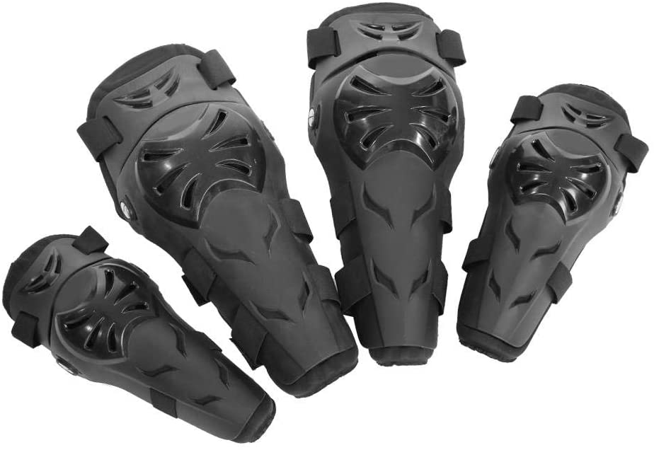 Elbow Pads, Elbow Guard 4 pcs Motorcycle Motocross Cycling Elbow and Knee Pads Protector Guard Armors Set Black(Black)