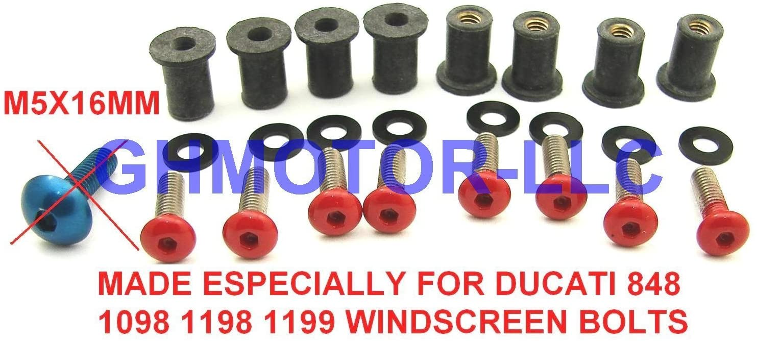 Ducati 848 1098 1198 1199 899 959 1299 SuperSport Panigale Corse V4 S R Red Windscreen Windshield Bolts Screws Kit Usa