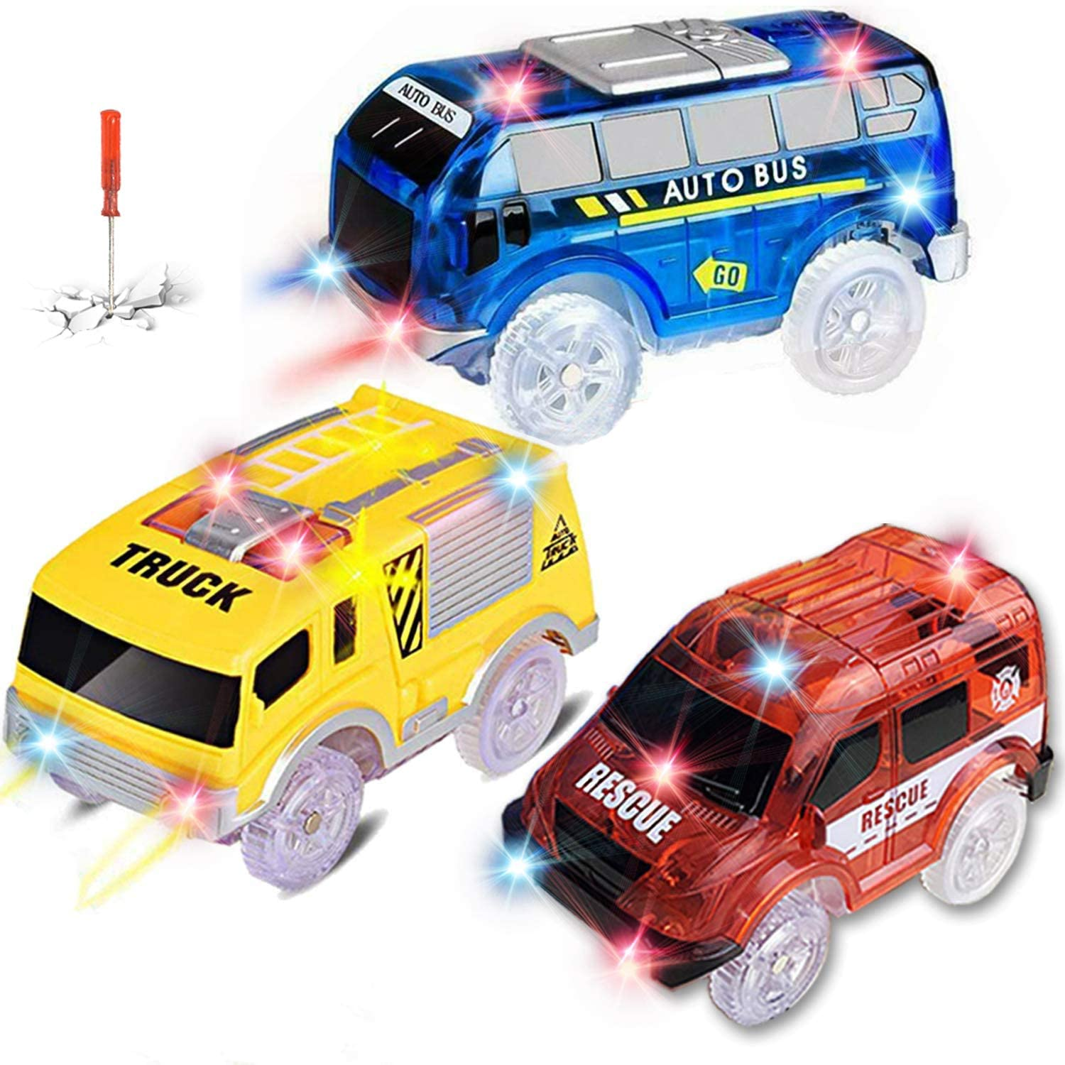 Track Cars for Kids, 3 Pack Replacement Track Cars Compatible with Magic Tracks Glow in the Dark, Toy Cars with 5 Flashing LED Lights for Most Race Tracks Only Light Up Toy Cars Track Car Accessories