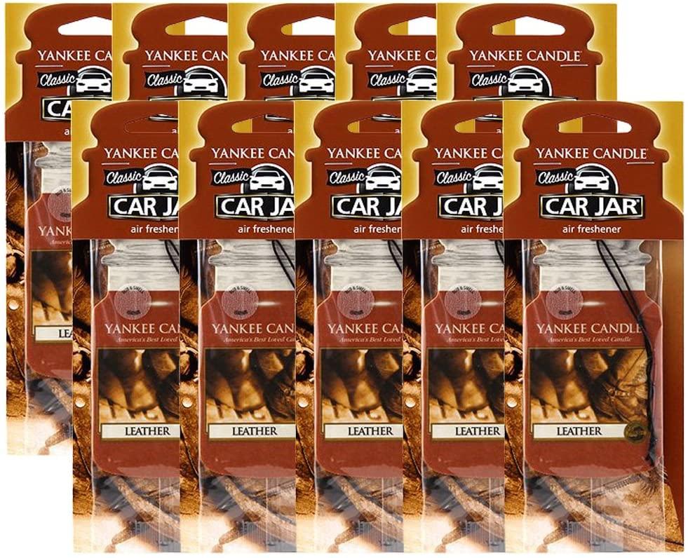 Yankee Candle Car Jar Leather Air Freshener (10 Pack)