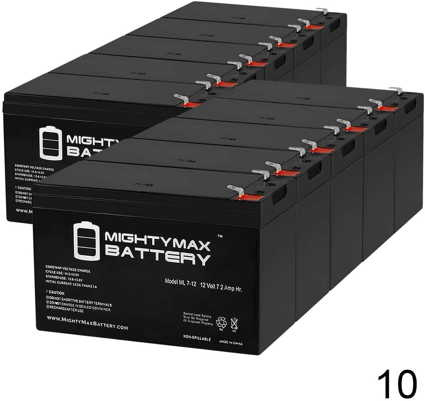 Mighty Max Battery ML7-12 - 12V 7.2AH Replacement Battery for B B Battery BP7-12 - 10 Pack Brand Product
