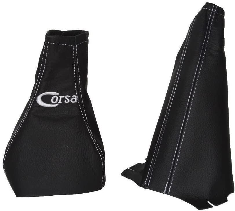 The Tuning-Shop Ltd Fits Opel Vauxhall Corsa C 2000-2006 Shift E Brake Boot Black Italian Leather White Corsa Embroidery