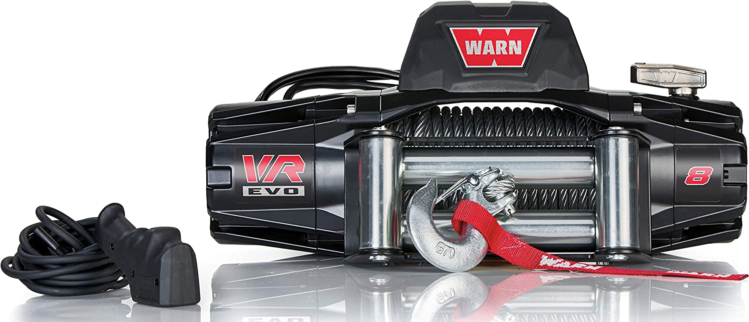 WARN 103250 VR EVO 8 Electric 12V DC Winch with Steel Cable Wire Rope: 5/16