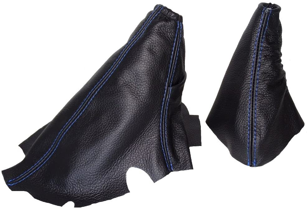 For Pontiac GRAND AM 1995-2005 Automatic Shift & E brake Boot Black Genuine Leather Blue Stitching