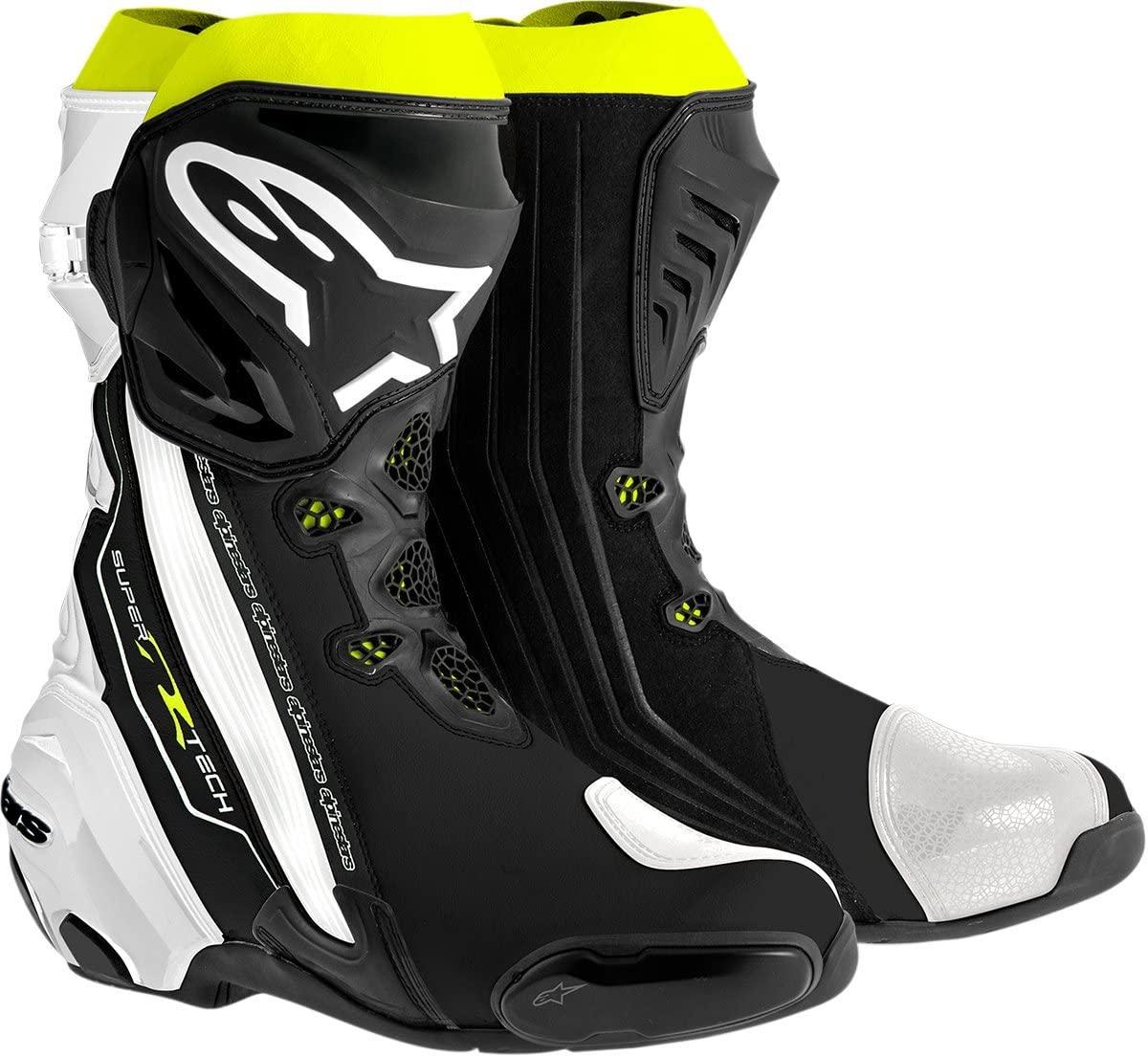 Alpinestars Supertech R Men's Motorcycle Road Racing Boots (Black/White/Fluorescent Yellow, EU Size 39)