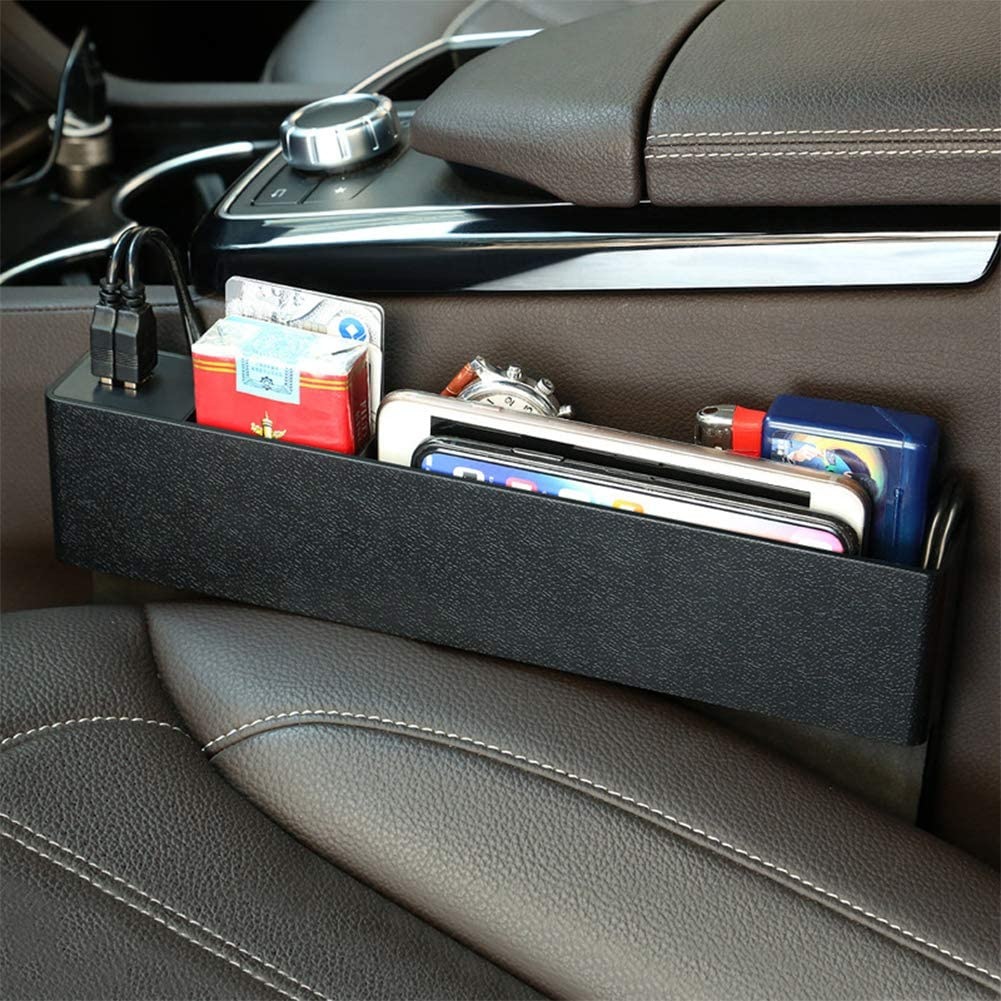 AKDSteel Car Seat Side Slit Organizer Multifunctional Seat Gap Storage Box for Charger Water Bottle Black auto Part