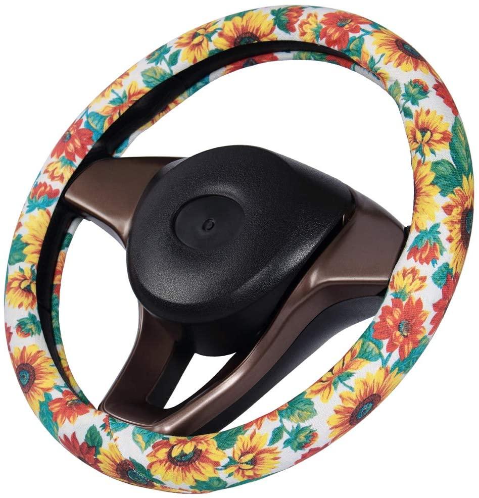 DuoDuoBling Sunflower Steering Wheel Cover Flower for Women Lady Girl(Green)