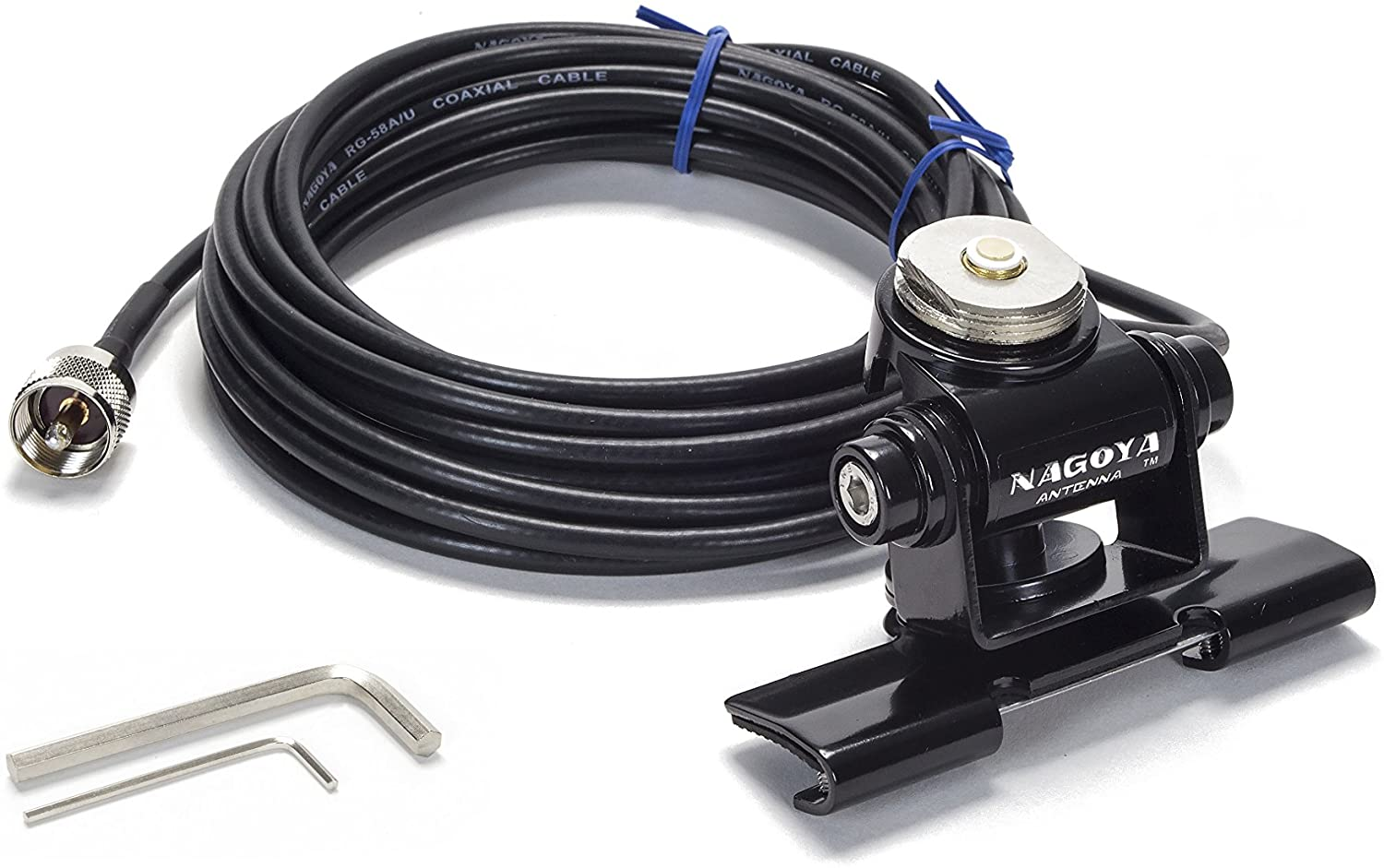 Nagoya RB-700N Heavy Duty Universal NMO Lip Mount for Trucks, Hatchbacks, SUVs, and Cars (Multi Axis Adjustable); Includes 20' of RG-58A/U Cable with a PL-259 Connector (Includes Rain Cap)