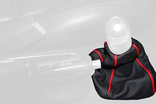 RedlineGoods bota/funda para palanca de cambios Compatible with Mazda MX6 1993-97. Alcantara Negra Costura Plata