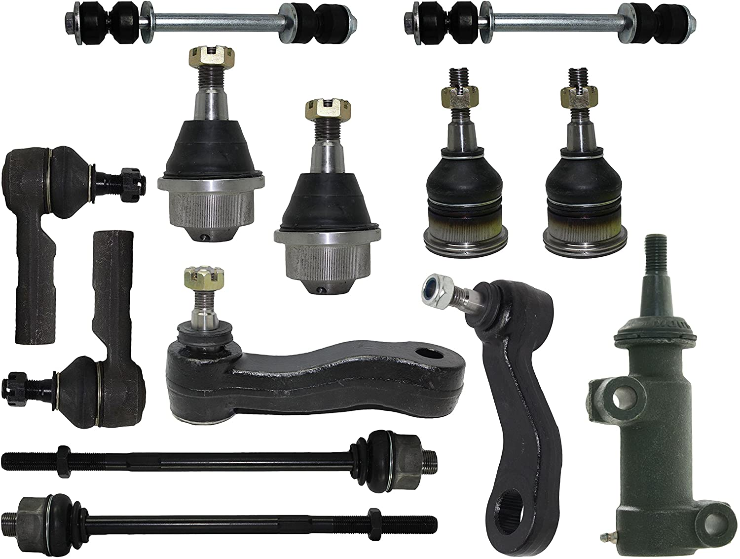 3 Piece Suspension Kit Ball Joints Tie Rod Ends Pitman Idler Arms & Sway Bar Links, Steering Set