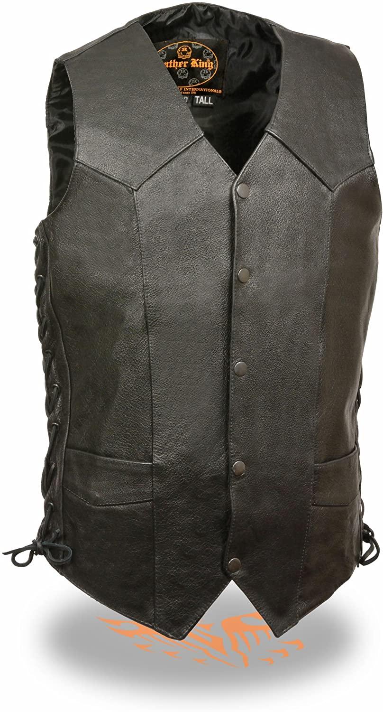 Mens TALL Side Lace Premium Cowhide Leather Vest (Black, 48)