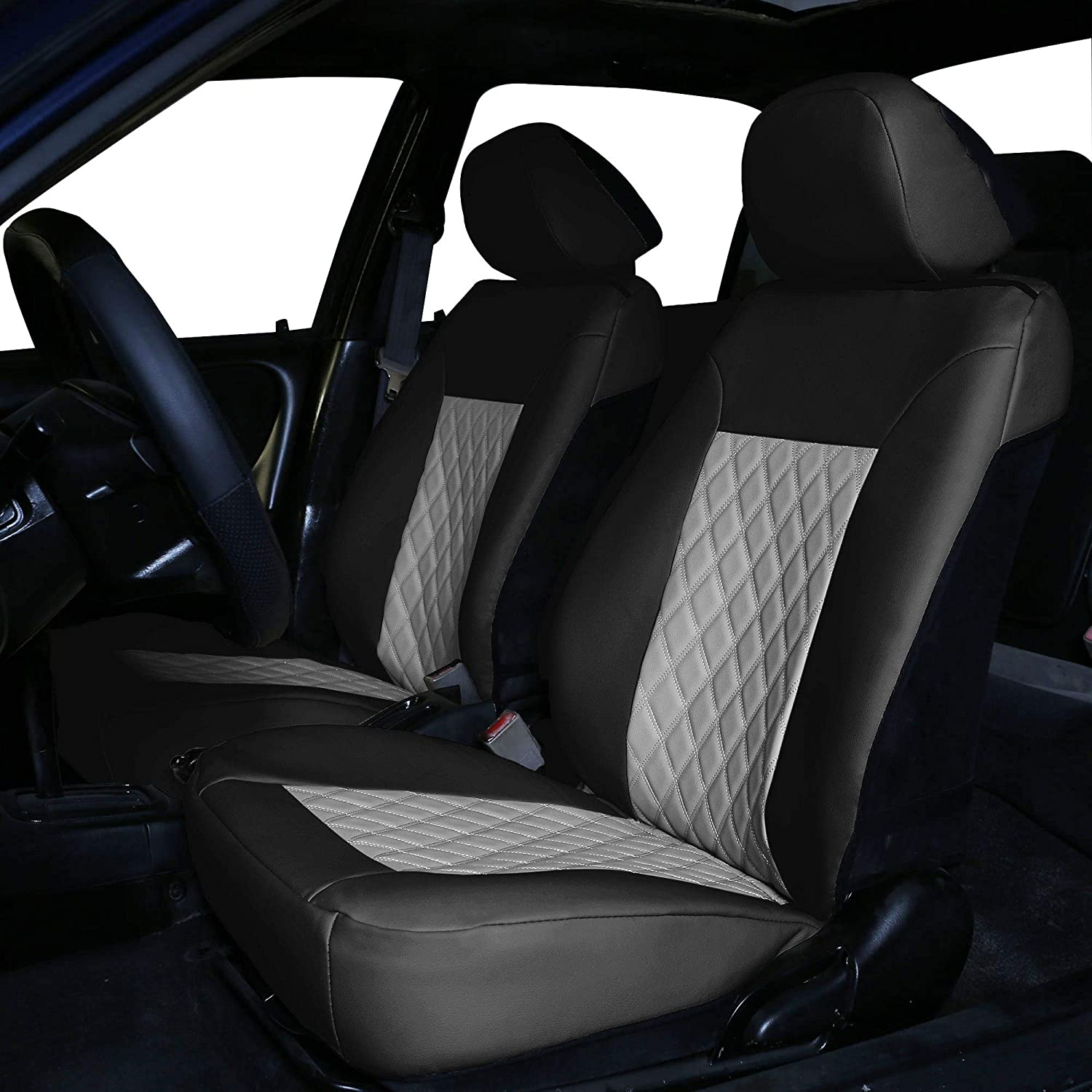 FH Group PU88GRAYBLACK102 Quality Faux Leather Diamond Pattern Car Seat Cushions – Front Set, Gray/Black- Faux Leather (PU088GRAYBLACK102)