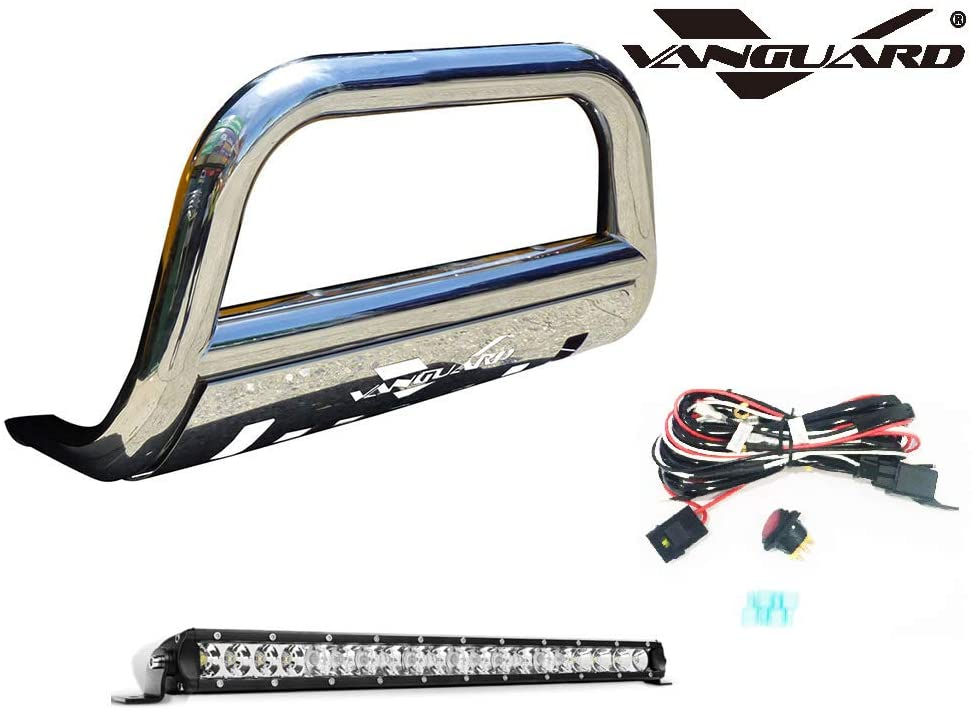 VANGUARD VGUBG-0939SS-20LED For Nissan Pathfinder 2008-2012 Bumper Guard Stainless Steel Bull Bar with Skid Plate and 20 inch LED Light Bar Combo