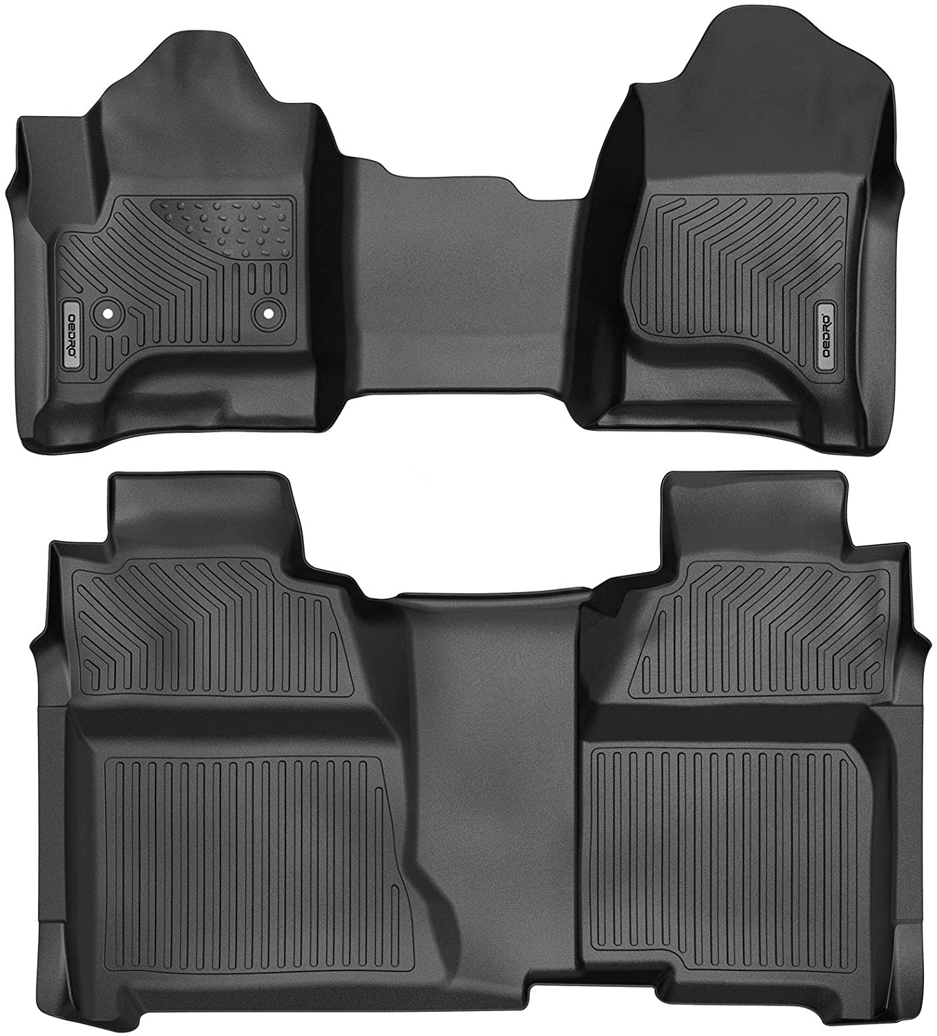 oEdRo Floor Mats Compatible for 2014-2018 Silverado/Sierra 1500, 2015-2019 2500HD/3500HD Crew Cab, with 1st Row Bench Seat, Black TPE All-Weather Guard Includes 1st and 2nd Row: Full Set Liners