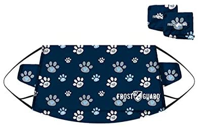 FrostGuard - Premium Winter Windshield Snow Cover with Security Panel and Wiper Cover, Protects from Snow, Ice and Frost (X-Large, Puppy Paws)