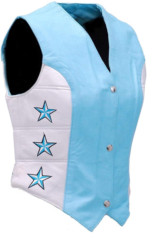 Jamin' Leather - Blue Star Motorcycle Leather Vest #VL265123SU