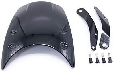 Universal Motorcycle 5-7inch Round Windshield Windscreen Headlight Fairing For Honda Yamaha Suzuki Kawasaki BMW Cruiser Chopper (glossy black)