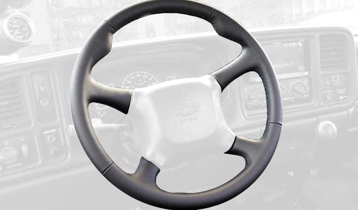 RedlineGoods cubierta del Volante (1999-02) Compatible with Chevrolet Silverado 1999-06. Alcantara Negra Costura ROJA