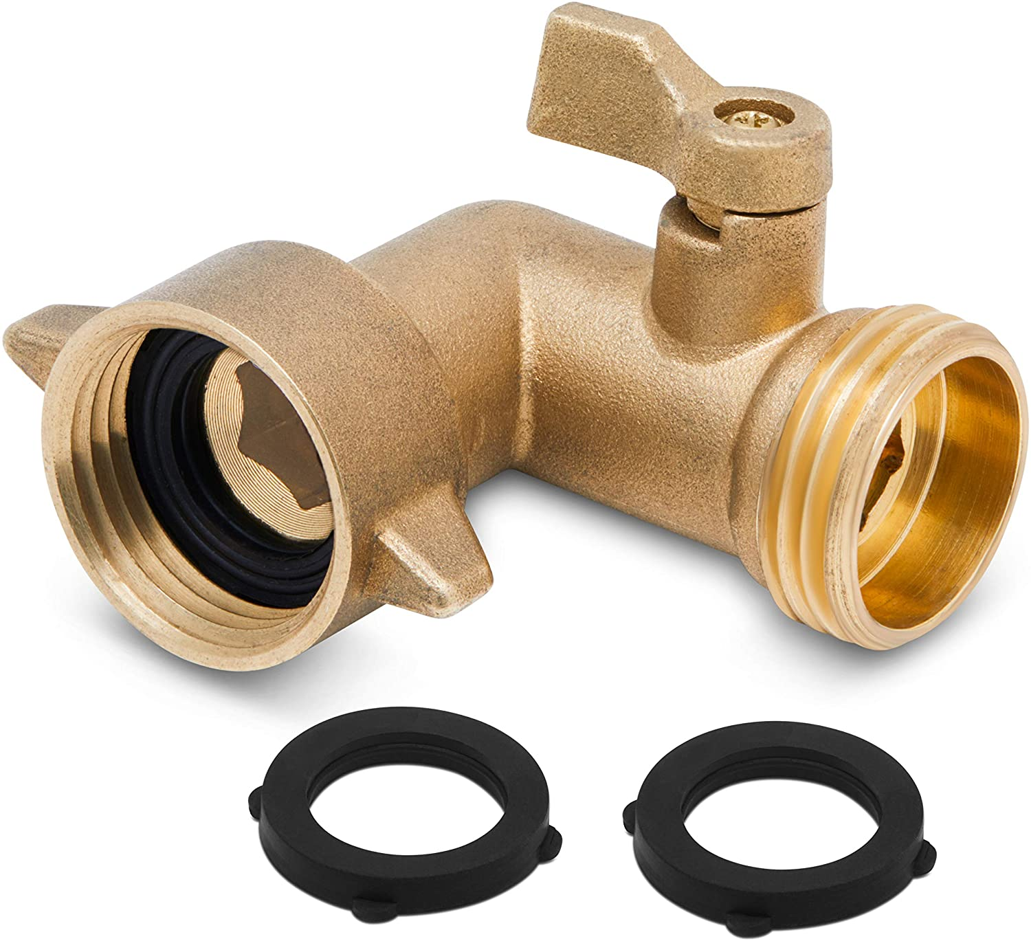 Morvat 90 Degree Garden Hose Elbow, RV Accessories for Outside Water Faucet, On/Off Valve, Solid Brass Fittings, Includes 2 Extra Rubber Washers