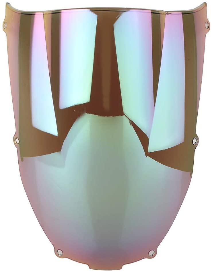 RKRXDH Motorcycle Front Shield Motorcycle Windscreen Spoiler Motorcycle Windshield Windscreen Double Bubble Fit for Kawasaki Ninja ZX6R ZX-6R 2000 2001 2002 (Color : Iridium)