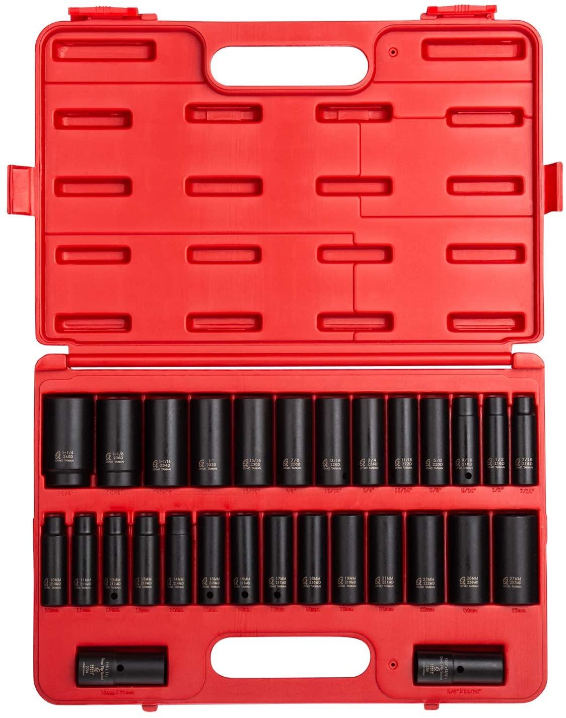 Sunex 5153DD, 1/2 Inch Drive Master Impact Socket Set, Double Deep, 29-Piece, SAE/Metric, 7/16 - 1-1/4, 10mm-27mm, Cr-Mo Steel, Radius Corner Design, Dual Size Markings, Heavy Duty Storage Case