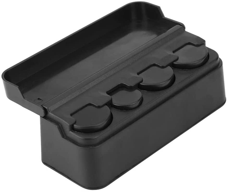 Hlyjoon Car Coin Storage Box Plastic Black Car Interior Change Case Pocket Container Organizer Holder