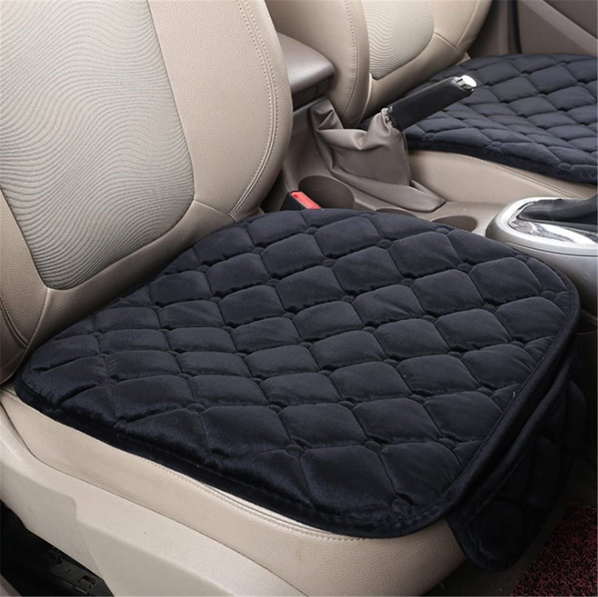 Fochutech Car Front Seat Cover Pad Mat Cushion Universal Fit Breathable Blanket Nonslip Auto Truck Office Plush Rhombus (Black)