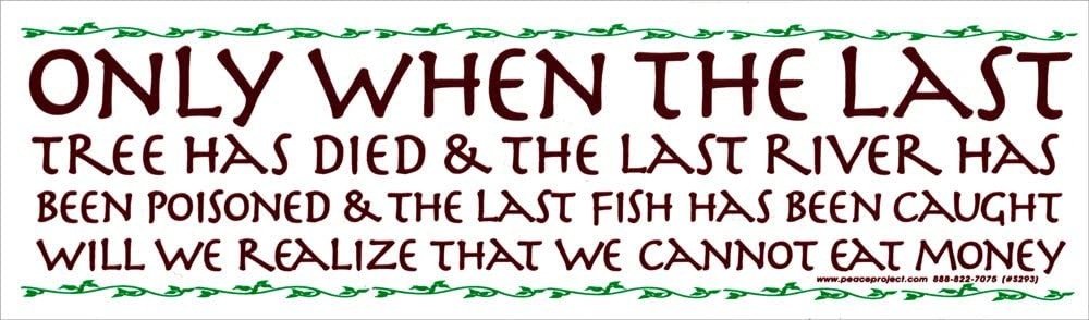 Only When The Last Tree Has Died and The Last River Has Been Poisoned. Will We Realize That We Cannot Eat Money Magnetic Bumper Sticker/Decal Magnet (10