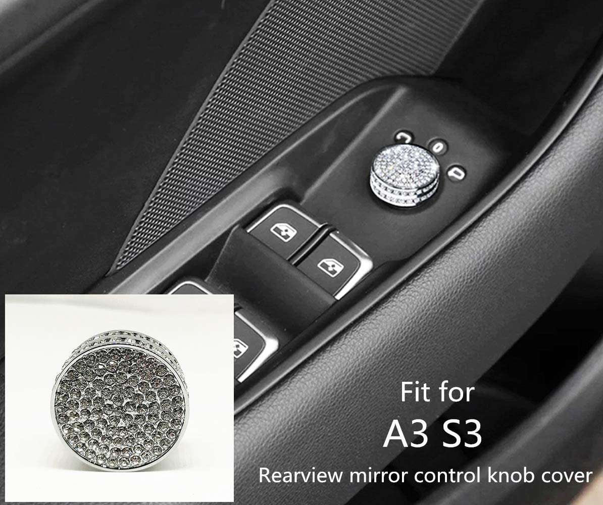 HAILWH Bling Interior Accessories for Audi A3 S3 RS3 2014-2019 Air Conditioner Outlet Multimedia Knob Rhinestone Crystal Applique Cover Applique Ring (Rearview Mirror Control knob Cover)