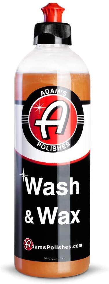 Adam's Wash & Wax 16oz - Car Wash Soap Infused with Pure Carnauba Car Wax Polymers | Car Cleaning Formula W/Paint Protection | Use in 5 Gallon Bucket Foam Cannon Foam Gun & Car Detailing Brush Kit