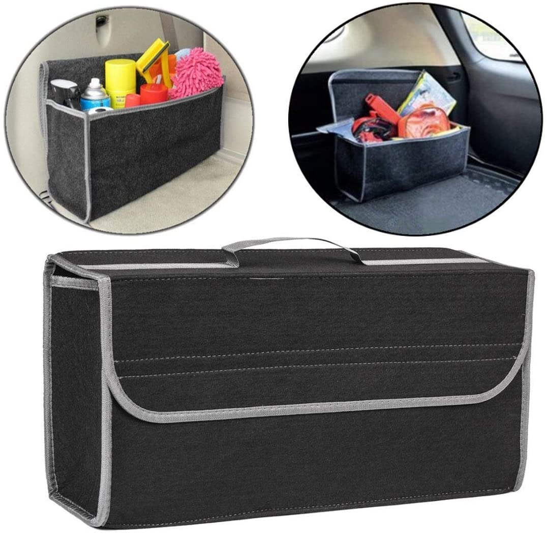 HUOGUOYIN Car Organizer Trunk Fit for Car Trunk Organizer Storage Box Case Felt Cloth Auto Interior Stowing Tidying Container Bags