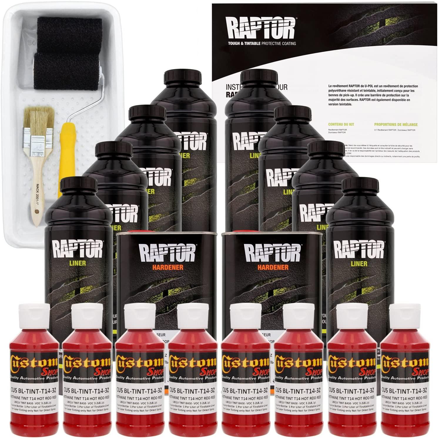 U-POL Raptor Hot Rod Red Urethane Spray-On Truck Bed Liner Kit w/Free Roller, Tray & Brush, 8 Liters