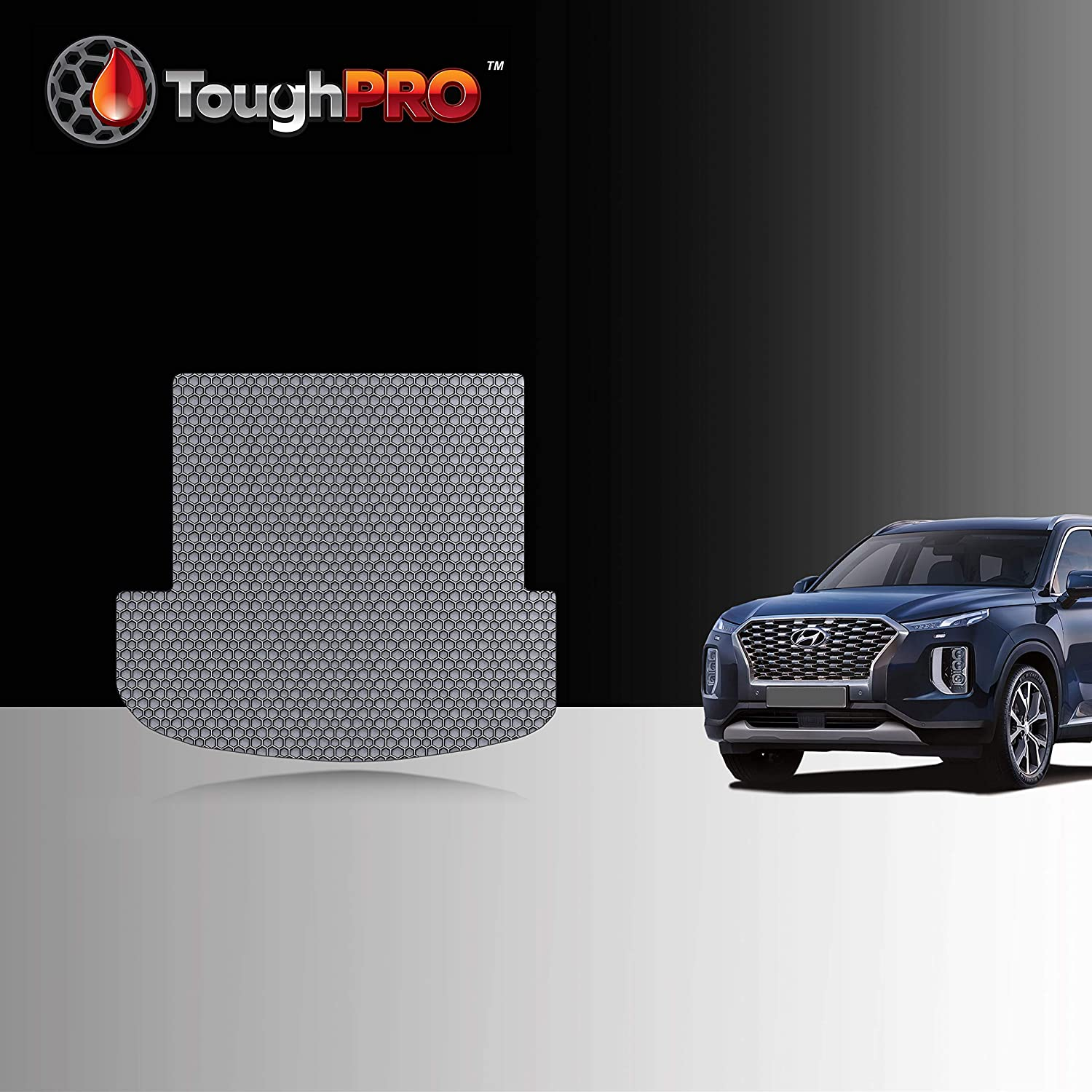 ToughPRO Cargo/Trunk Mat Compatible with Hyundai Palisade - 3rd Row Down - All Weather - Heavy Duty - (Made in USA) - Gray Rubber - 2020
