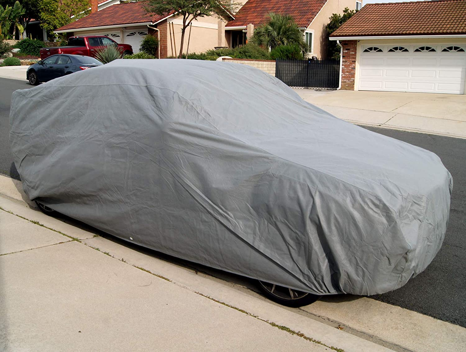 Tuningpros CC-U5 Multiple Layers Non-Woven Fabric Car Cover Waterproof Rain Barrier Fit up to Size 200.0