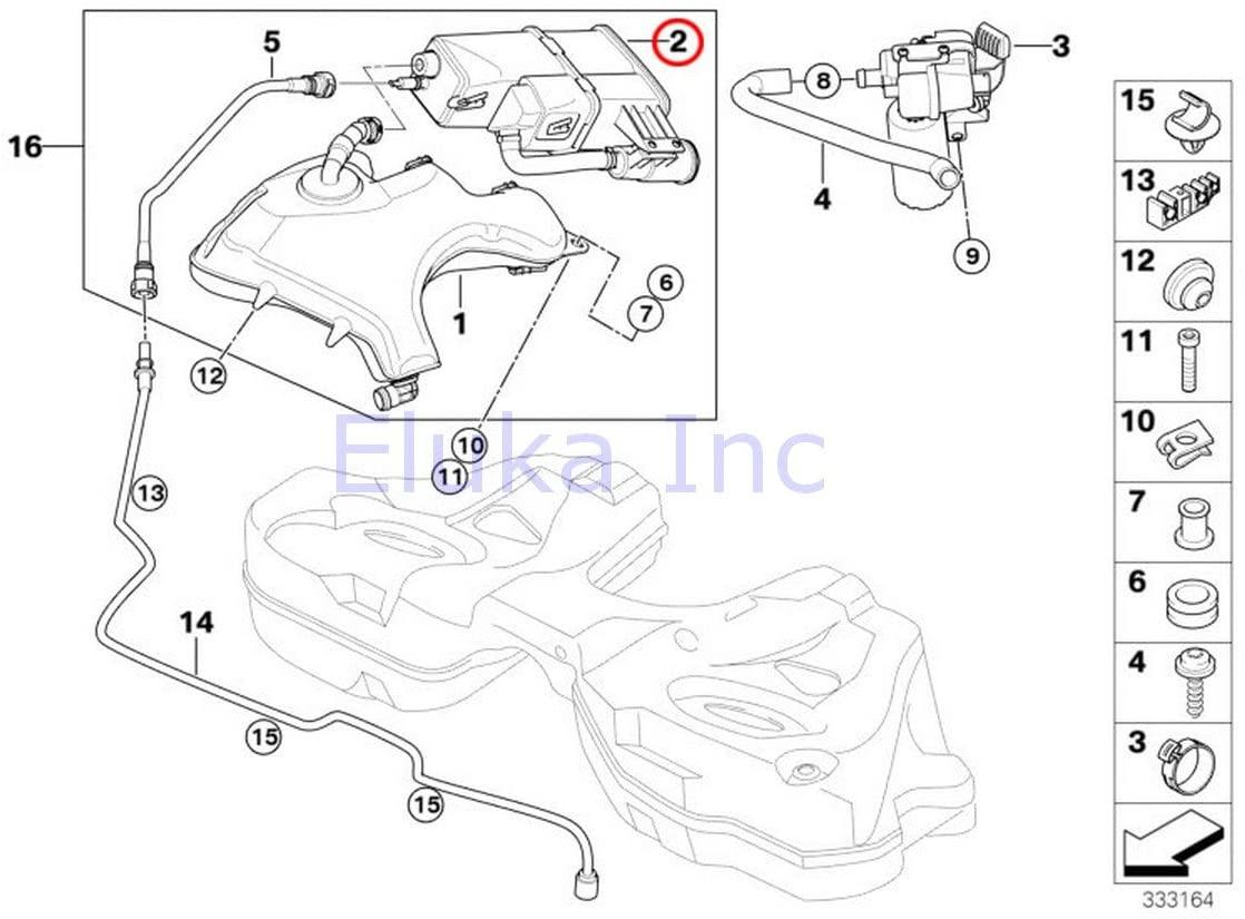 BMW Genuine Activated Charcoal Filter For Fuel Ventilation Vapor System 745i 750i 760i 745Li 750Li 760Li