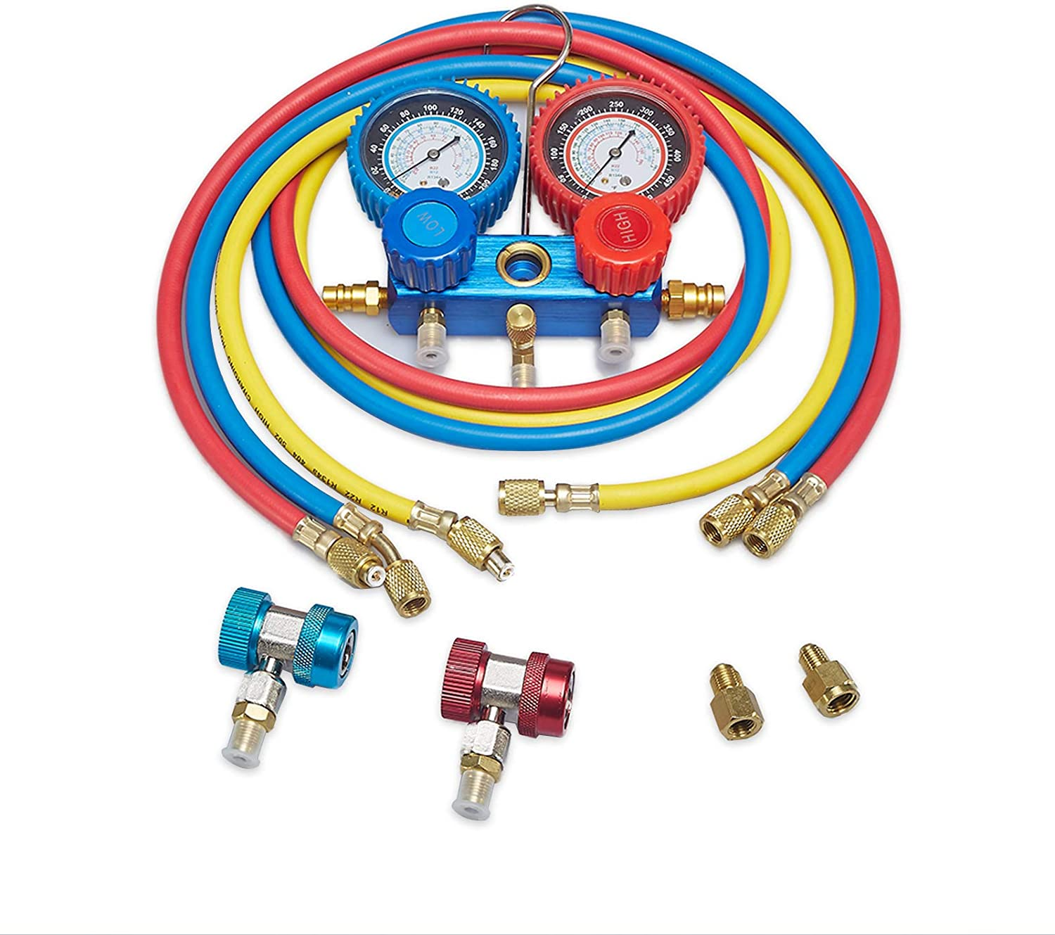 AUTOGEN 3 Way AC Diagnostic Manifold Gauge Set for Freon Charging, Fits R134A R404A R22 and R410 Refrigerants, with 5FT Hose, Acme Tank Adapters, Quick Couplers and Can Tap