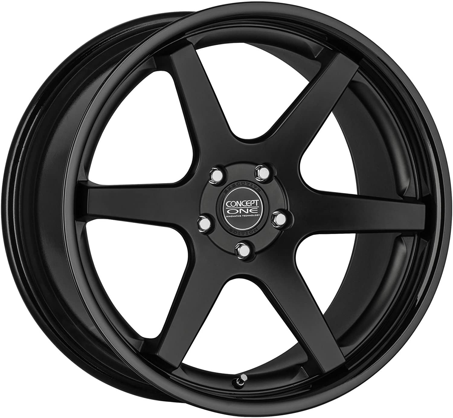 Concept One CS 6.0 Matte Black/Gloss Black Lip Wheel with Painted Finish (20 x 9. inches /5 x 114 mm, 36 mm Offset)