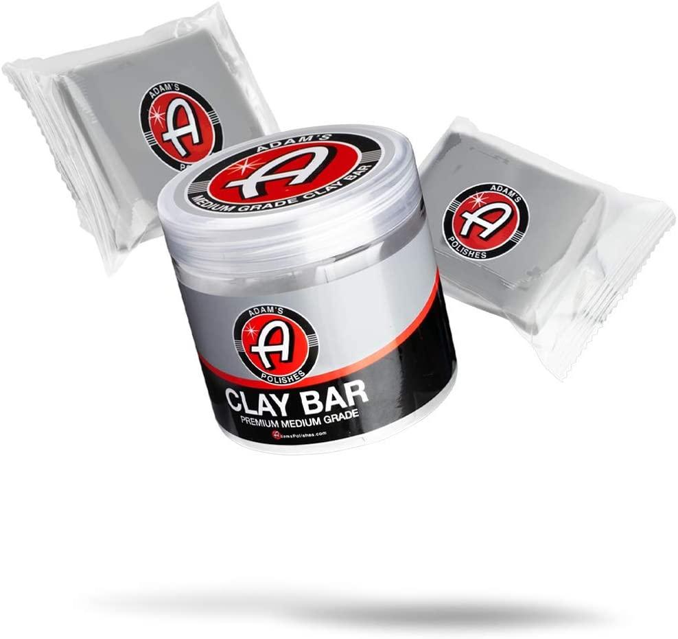 Adams Medium Grade Clay Bar Jar Kit 100g - Premium Car Detailing Clay Fallout Remover Of Contamination, Water Spot & Grime | Use With Detail Spray Car Wash Kit Car Wax Buffer Polisher Ceramic Coating
