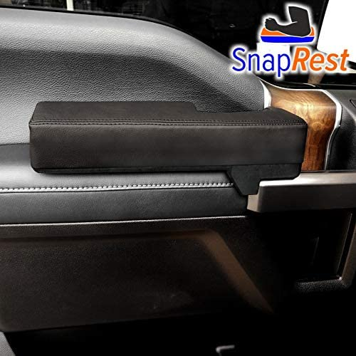 SnapRest The Instant Comfort Armrest Compatible with Ford F-150 (2015-20 ONLY). Premium Leather - Black