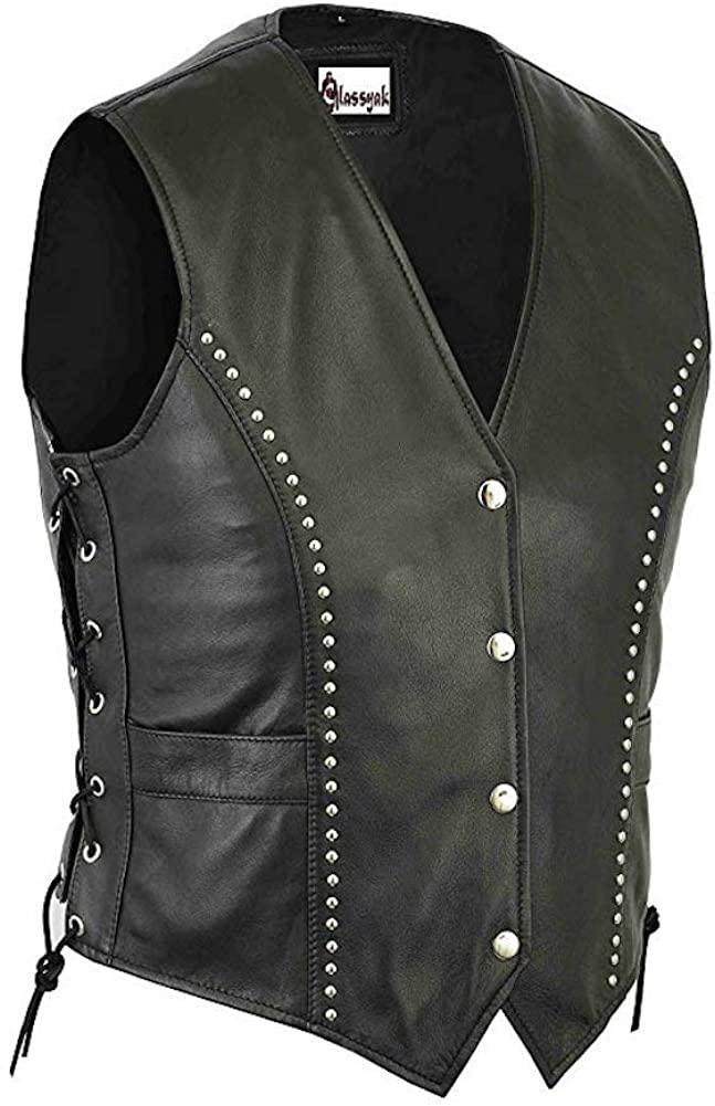 Chougle' Motorcycle Women Leather Vest Black Stylish