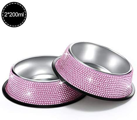 SAVORI Small Dog Bowls Pink, Handmade Bling Rhinestones Stainless Steel Pet Bowls Double Food Water Feeder for Puppy Cats Dogs Cats (400ml-Pink)