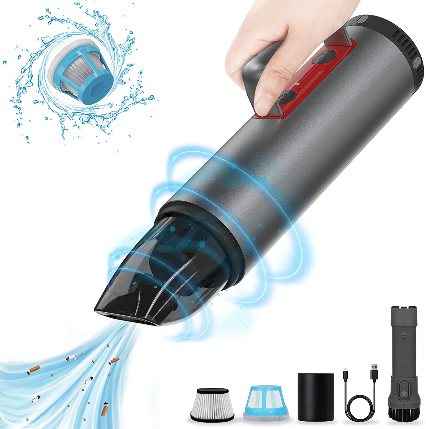 Car Vacuum Cleaner Cordless, POWERGIANT Handheld Car Rechargeable Vacuum Cleaner Car Accessories Kit with Strong Suction and LED Lights for Home Office Pet Hair Care and Car Cleaning