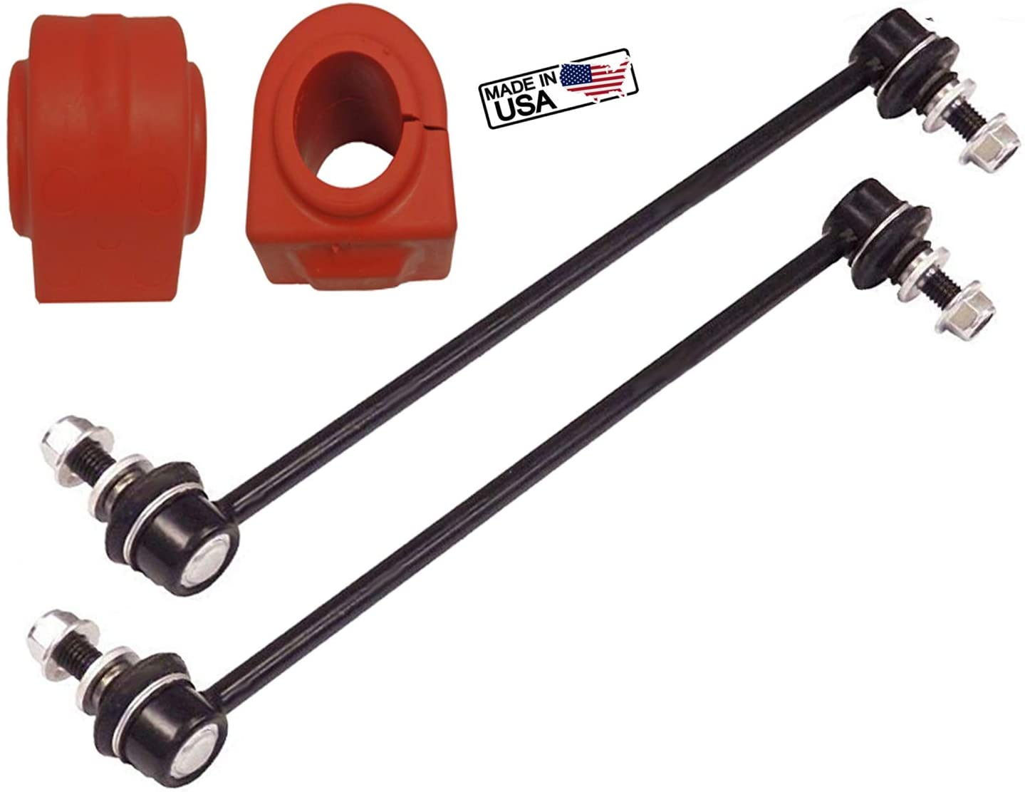 4PC Front Sway Bar Links + Front Bushings FITS Chevrolet Traverse GMC Acadia Buick Enclave Saturn Outlook